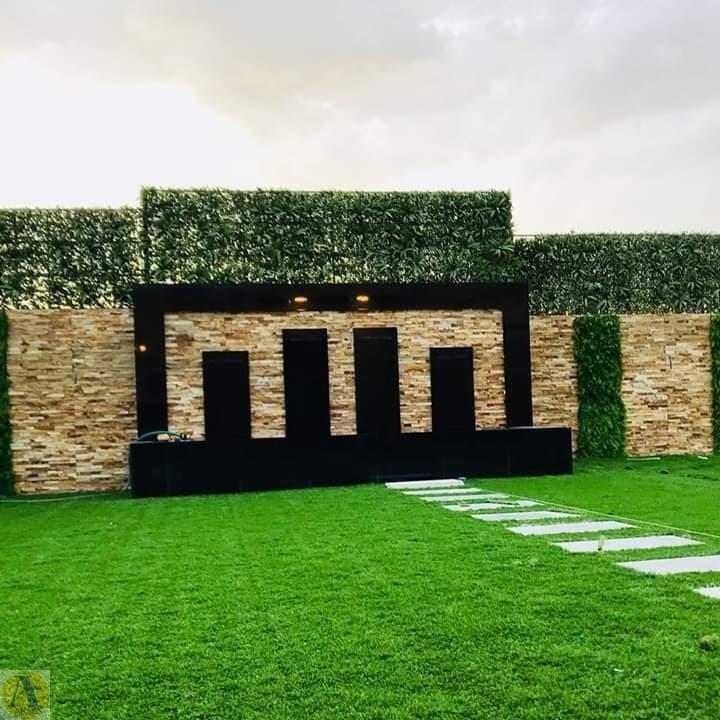 محوطه سازی با چمن و آبنما
