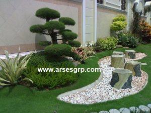 کف سازی محوطه باغ با سنگ