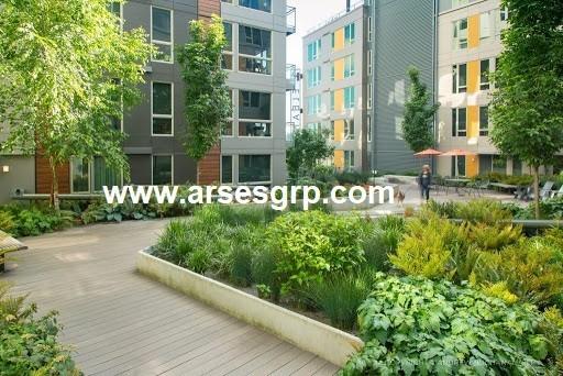 محوطه سازی مجتمع مسکونی مدرن