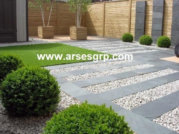 محوطه سازی حیاط با سنگ مدرن